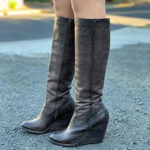 Frye Emma wedge tall boot zip size 8.5